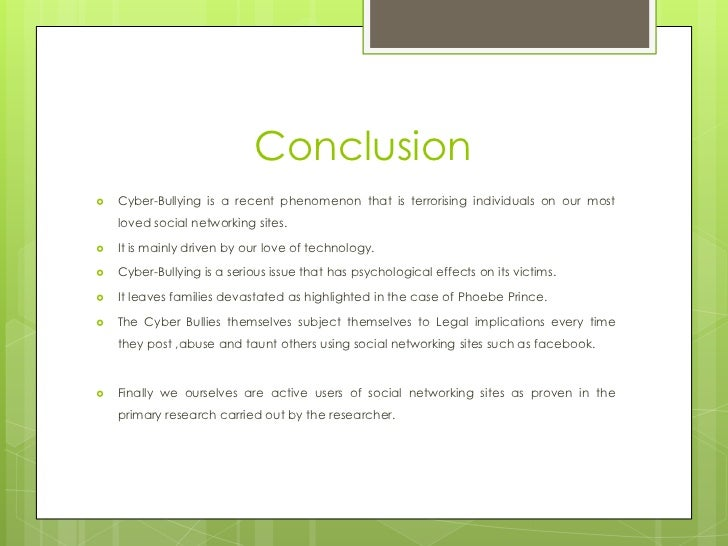 cyber bullying on social networking sites 14 conclusioniuml130155 cyber bullying
