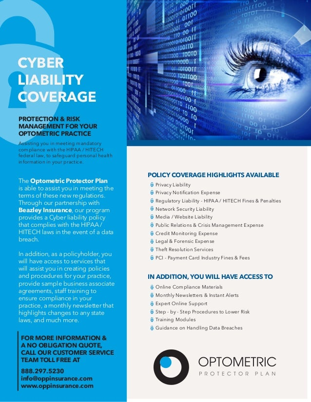 Cyber Liability Coverage - Optometric Protector Plan