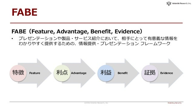 FABE Enabling Security©2016 Asterisk Research, Inc. Feature特徴 Advantage利点 Benefit利益 Evidence証拠 FABE(Feature, Advantage, Be...