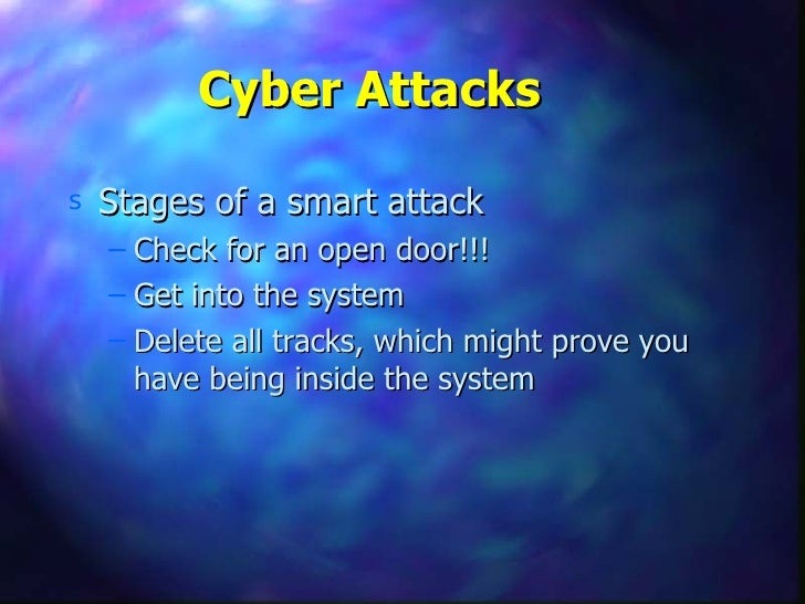 Cyber Attacks <ul><li>Stages of a smart attack </li></ul><ul><ul><li>Check for an open door!!! </li></ul></ul><ul><ul><li>...