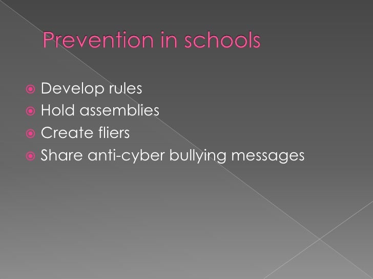 Stopping cyber bullying<br />Many teens believe cyber bullying prevention needs to occur on three distinct levels:<br />In...