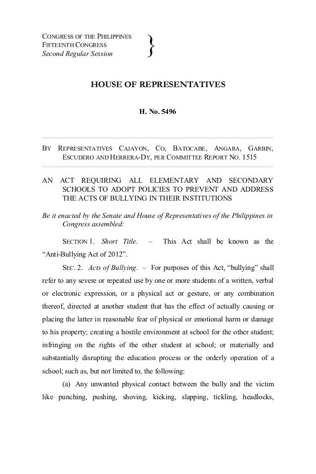 CONGRESS OF THE PHILIPPINES FIFTEENTH CONGRESS Second Regular Session HOUSE OF REPRESENTATIVES H. No. 5496 BY REPRESENTATI...