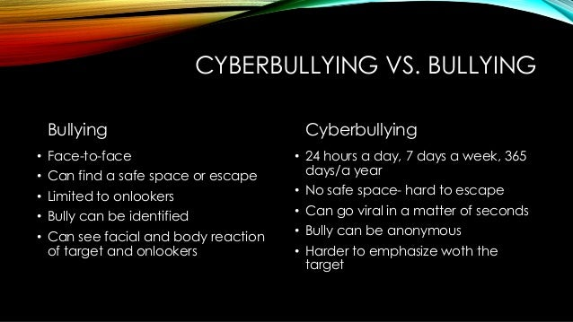 Cyber Bullying vs. Traditional Bullying