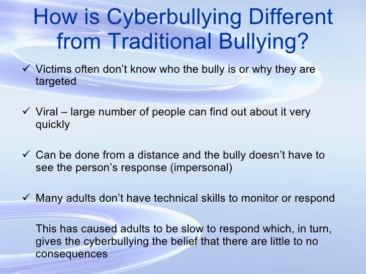 traditional bullying Traditional bullying and cyber-bullying: are the impacts on self-concept the same by heather nicole hines a thesis submitted to the faculty of the graduate school.