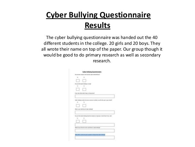 cyber bullying questionnaire results