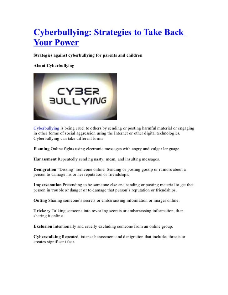 Cyberbullying: Strategies to Take BackYour PowerStrategies against cyberbullying for parents and childrenAbout Cyberbullyi...
