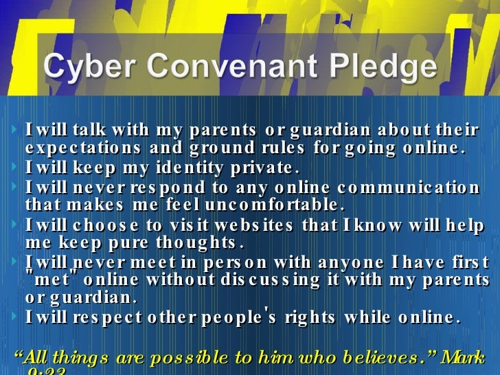 <ul><li>I will talk with my parents or guardian about their expectations and ground rules for going online.  </li></ul><ul...