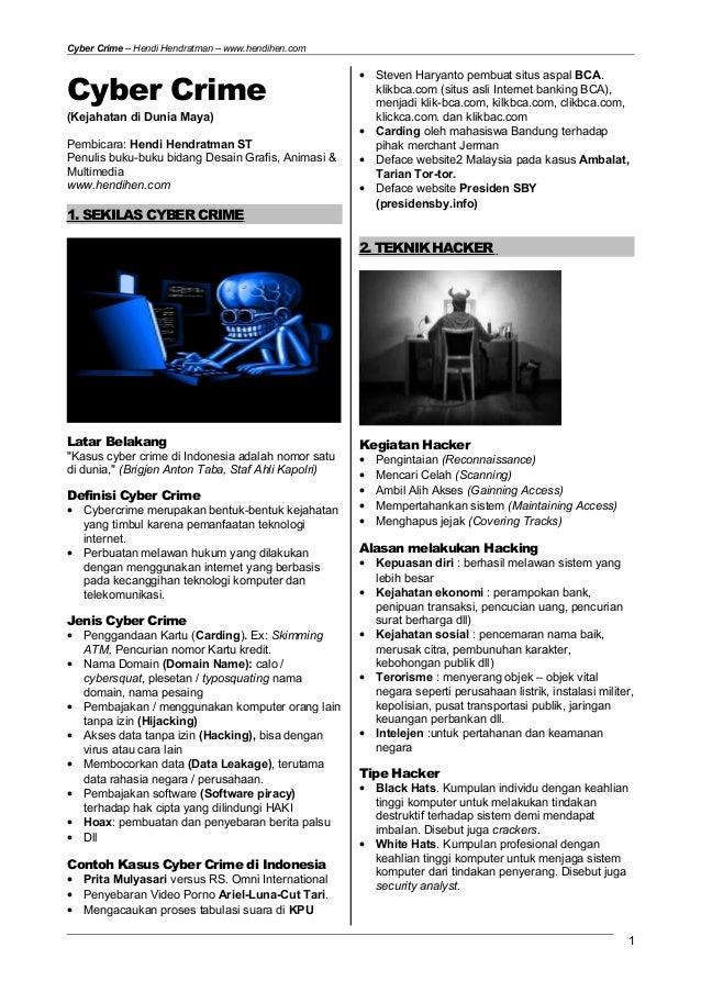Cyber Crime Kejahatan Di Dunia Maya Internet