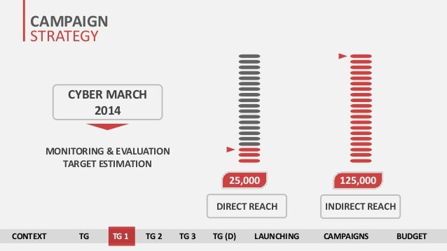 CAMPAIGN STRATEGY CYBER MARCH 2014 MONITORING & EVALUATION TARGET ESTIMATION 125,00025,000 DIRECT REACH INDIRECT REACH CON...