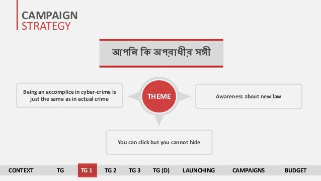 CAMPAIGN STRATEGY আপনি নক অপরাধীর সঙ্গী You can click but you cannot hide Being an accomplice in cyber-crime is just the s...