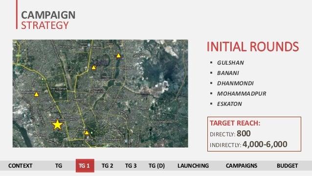 CAMPAIGN STRATEGY INITIAL ROUNDS  GULSHAN  BANANI  DHANMONDI  MOHAMMADPUR  ESKATON TARGET REACH: DIRECTLY: 800 INDIRE...