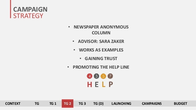 CONTEXT TG TG 1 TG 2 TG 3 TG (D) LAUNCHING CAMPAIGNS BUDGET CAMPAIGN STRATEGY • NEWSPAPER ANONYMOUS COLUMN • ADVISOR: SARA...
