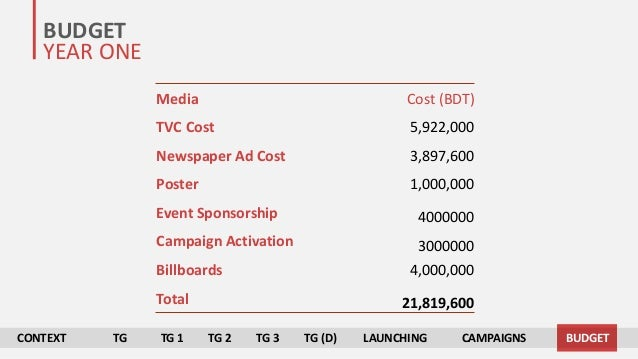 PRESENT CONTEXT TARGET GROUP ANALYSIS CAMPAIGN STRATEGIES TIMELINE & BUDGET