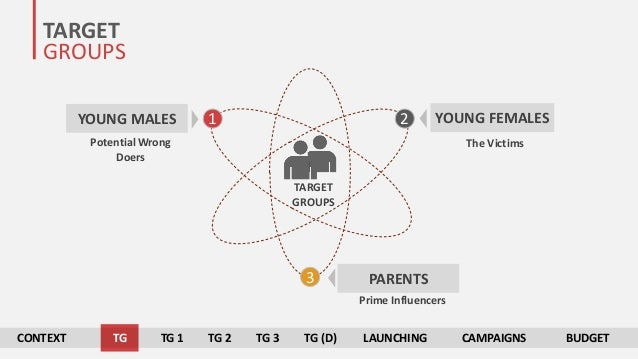TARGET GROUPS TARGET GROUPS 1 2 3 YOUNG MALES YOUNG FEMALES PARENTS Potential Wrong Doers The Victims Prime Influencers CO...