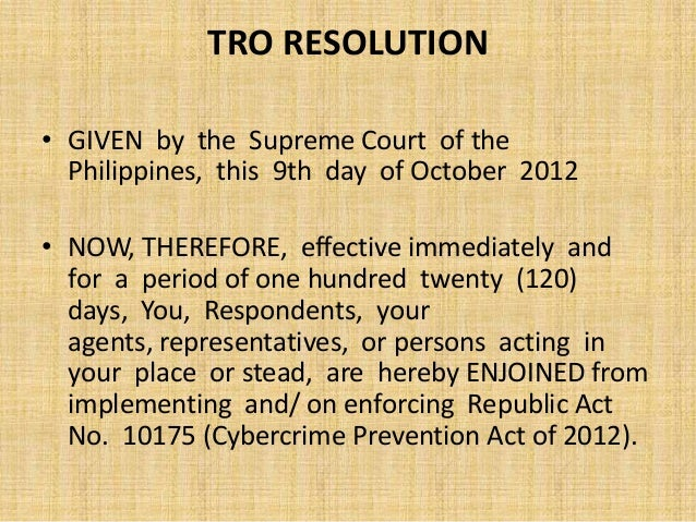cybercrime prevention act of 2012 or republic act no 10175 essay The cybercrime prevention act of 2012, officially recorded as republic act no 10175, is a law in the philippines approved on 12 september 2012 it aims to address legal issues concerning online interactions and the internet in the philippines.