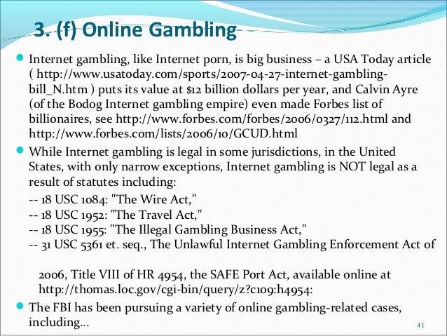 Unlawful internet gambling funding prohibition act