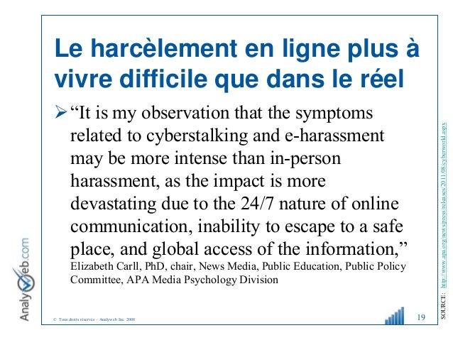 """© Tous droits réservés – Analyweb Inc. 2008 Le harcèlement en ligne plus à vivre difficile que dans le réel """"It is my obs..."""