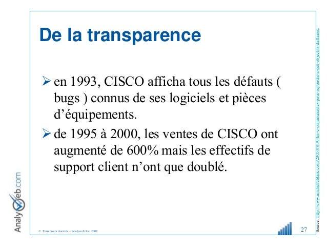© Tous droits réservés – Analyweb Inc. 2008 De la transparence en 1993, CISCO afficha tous les défauts ( bugs ) connus de...