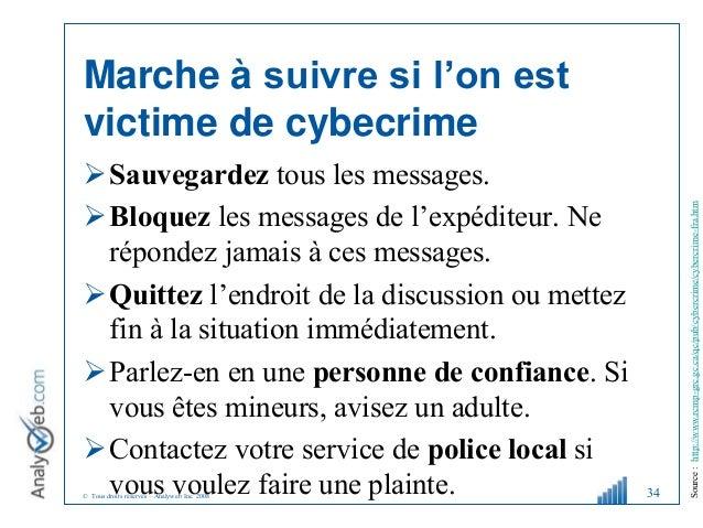 © Tous droits réservés – Analyweb Inc. 2008 Marche à suivre si l'on est victime de cybecrime Sauvegardez tous les message...