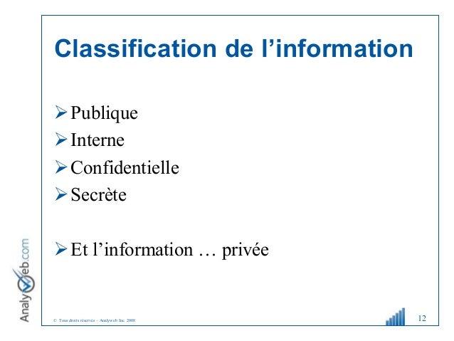 © Tous droits réservés – Analyweb Inc. 2008 Classification de l'information Publique Interne Confidentielle Secrète E...