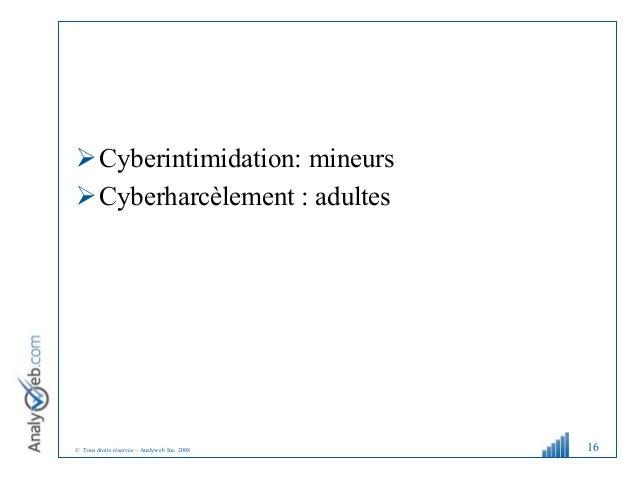 © Tous droits réservés – Analyweb Inc. 2008 Cyberintimidation: mineurs Cyberharcèlement : adultes 16