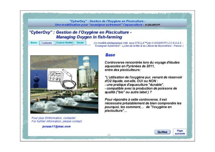 """""""CyberOxy"""" : Gestion de lOxygène en Pisciculture -Une modélisation pour """"enseigner autrement"""" l'aquaculture - H.GIGAROFF"""