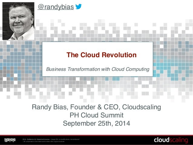 @randybias  The Cloud Revolution  Business Transformation with Cloud Computing!  Randy Bias, Founder & CEO, Cloudscaling! ...