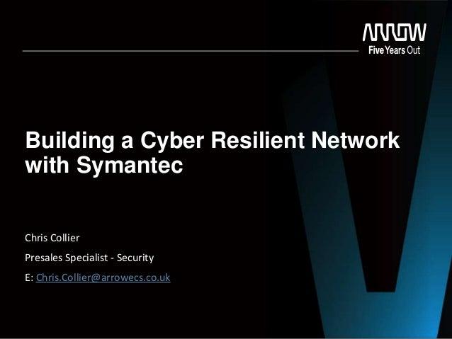 Building a Cyber Resilient Network with Symantec Chris Collier Presales Specialist - Security E: Chris.Collier@arrowecs.co...