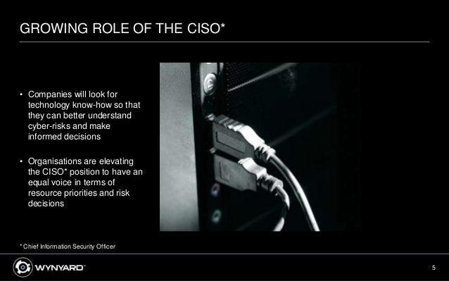 5 GROWING ROLE OF THE CISO* • Companies will look for technology know-how so that they can better understand cyber-risks a...