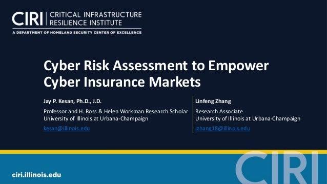 Cyber Risk Assessment to Empower Cyber Insurance Markets Jay P. Kesan, Ph.D., J.D. Linfeng Zhang Professor and H. Ross & H...