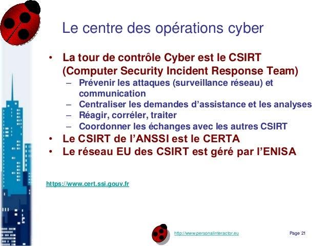 http://www.personalinteractor.eu Le centre des opérations cyber • La tour de contrôle Cyber est le CSIRT (Computer Securit...