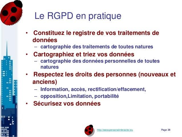 http://www.personalinteractor.eu Le RGPD en pratique • Constituez le registre de vos traitements de données – cartographie...