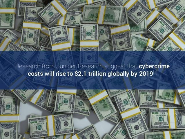 Research from Juniper Research suggest that cybercrime costs will rise to $2.1 trillion globally by 2019[1]