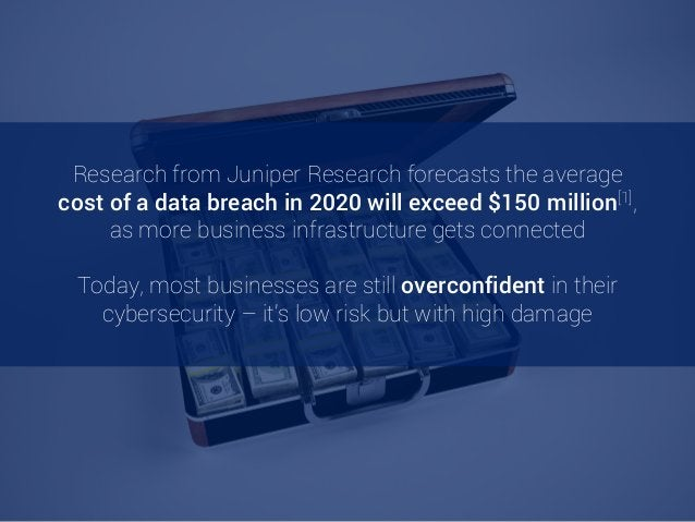 Research from Juniper Research forecasts the average cost of a data breach in 2020 will exceed $150 million[1], as more bu...