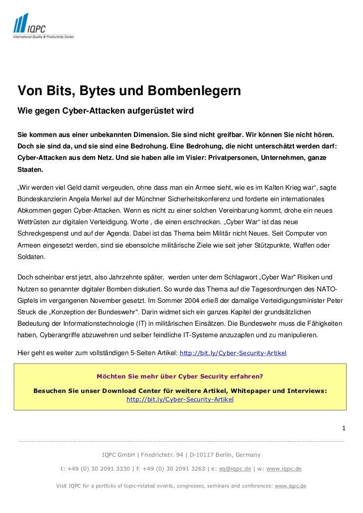 Von Bits, Bytes und BombenlegernWie gegen Cyber-Attacken aufgerüstet wirdSie kommen aus einer unbekannten Dimension. Sie s...