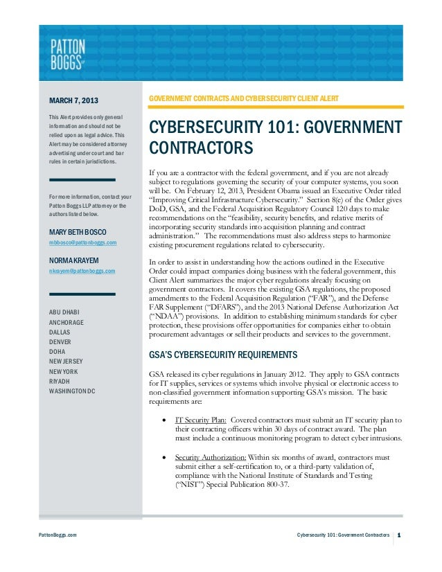 MARCH 7, 2013                        GOVERNMENT CONTRACTS AND CYBERSECURITY CLIENT ALERT    This Alert provides only gener...