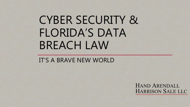 CYBER SECURITY & FLORIDA'S DATA BREACH LAW IT'S A BRAVE NEW WORLD