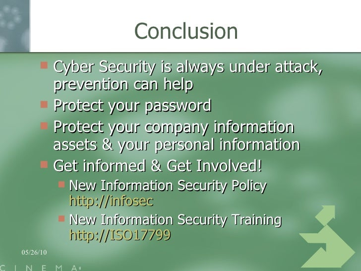 conclusion of cyber security Cyber Security At The Cinema