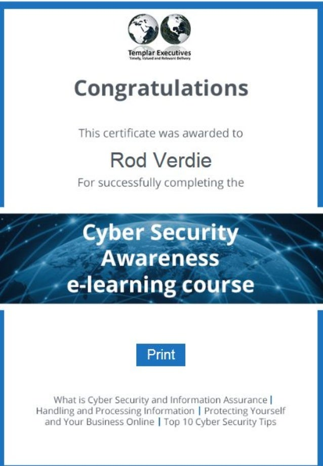 cyber security certificate