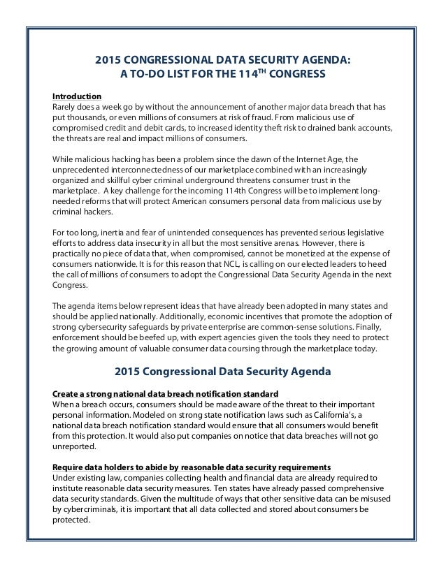 2015 CONGRESSIONAL DATA SECURITY AGENDA:  A TO-DO LIST FOR THE 114TH CONGRESS  Introduction  Rarely does a week go by with...