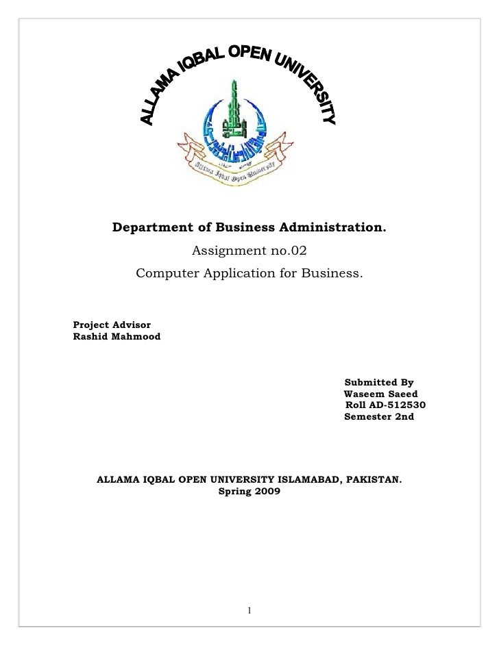 Department of Business Administration.                    Assignment no.02           Computer Application for Business.   ...