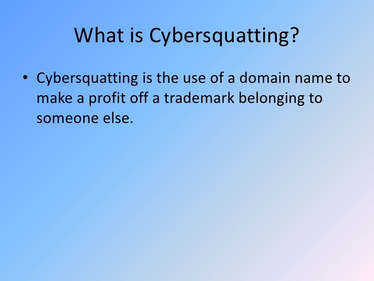 what is cybersquatting