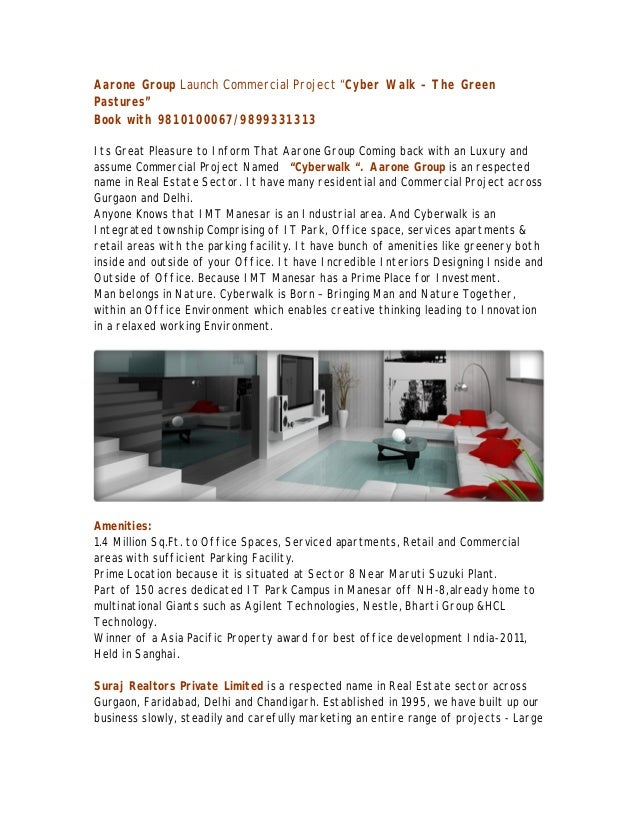 """Aarone Group Launch Commercial Project """"Cyber Walk – The GreenPastures""""Book with 9810100067/9899331313Its Great Pleasure t..."""