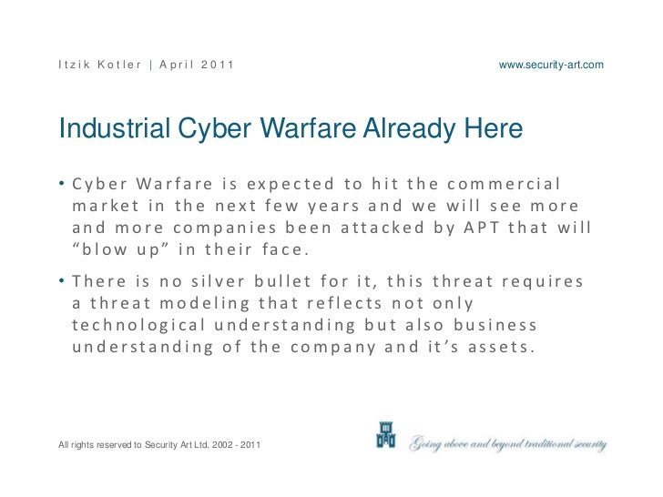 Industrial Cyber Warfare Already Here<br />Cyber Warfare is expected to hit the commercial market in the next few years an...