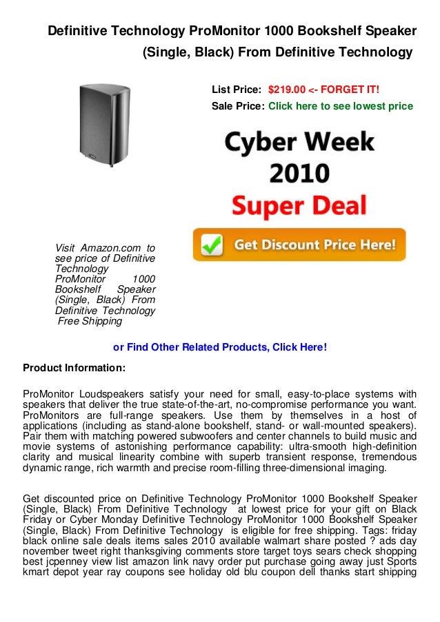 Definitive Technology ProMonitor 1000 Bookshelf Speaker Single Black From List Price