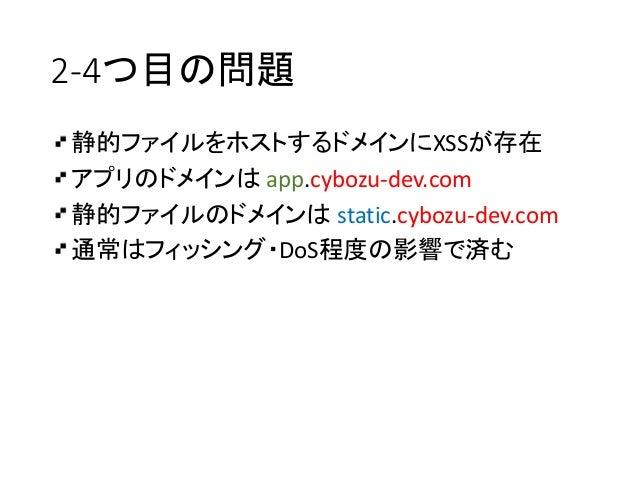 2-4つ目の問題 静的ファイルをホストするドメインにXSSが存在 アプリのドメインは app.cybozu-dev.com 静的ファイルのドメインは static.cybozu-dev.com 通常はフィッシング・DoS程度の影響で済む