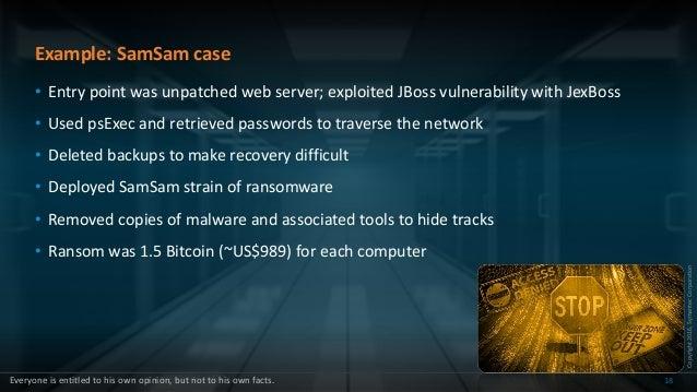 Copyright2016,SymantecCorporation Example: SamSam case • Entry point was unpatched web server; exploited JBoss vulnerabili...