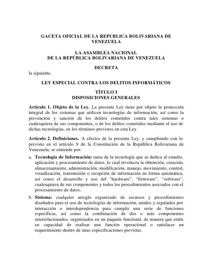 GACETA OFICIAL DE LA REPUBLICA BOLIVARIANA DE                        VENEZUELA                    LA ASAMBLEA NACIONAL    ...