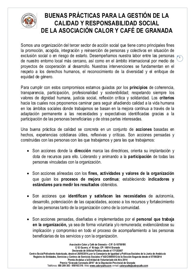 BUENAS PRÁCTICAS PARA LA GESTIÓN DE LA CALIDAD Y RESPONSABILIDAD SOCIAL DE LA ASOCIACIÓN CALOR Y CAFÉ DE GRANADA Asociació...